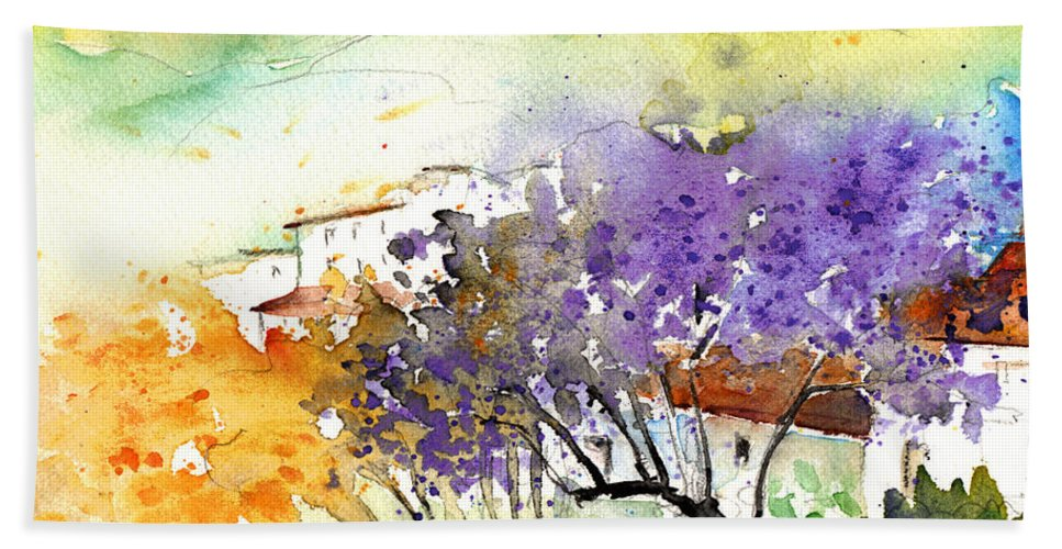 Watercolour Bath Sheet featuring the painting By Teruel Spain 01 by Miki De Goodaboom