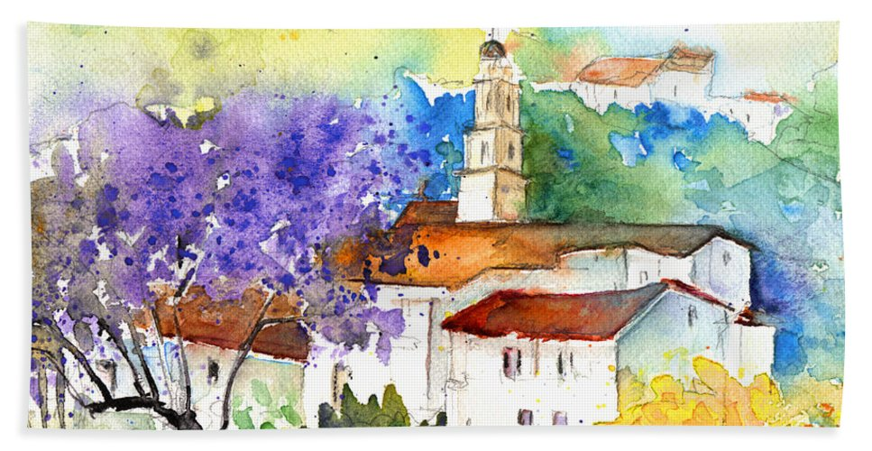 Travel Hand Towel featuring the painting By Teruel Spain 02 by Miki De Goodaboom