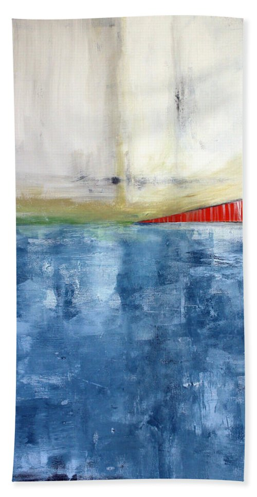 Golden Gate Bridge Hand Towel featuring the mixed media By The Bay- Abstract Art by Linda Woods
