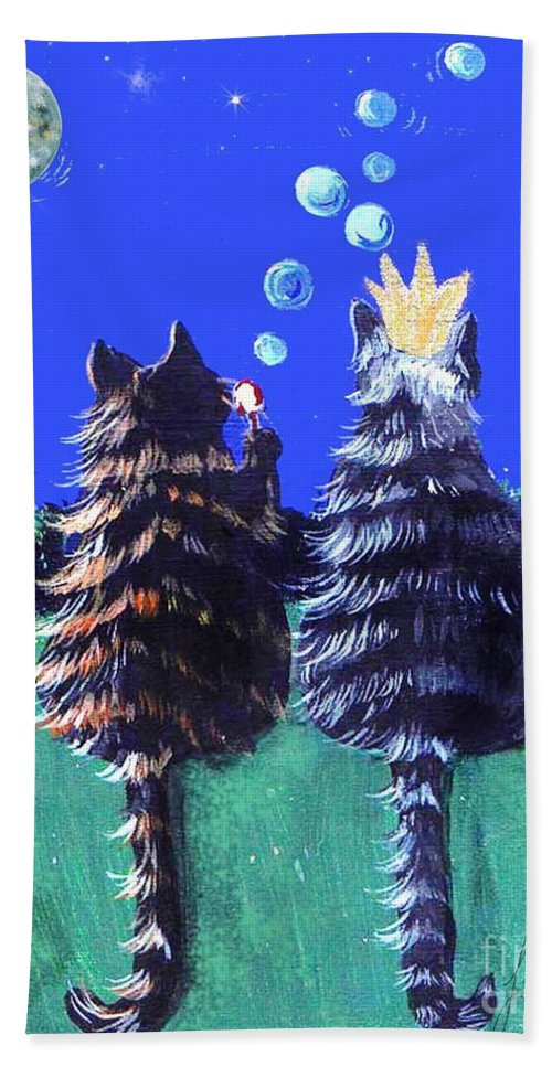 Cats Bath Sheet featuring the painting By The Light Of The Silvery Moon by Lizi Beard-Ward