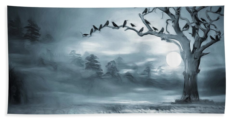 Mystery Bath Sheet featuring the digital art By The Moonlight by Lourry Legarde