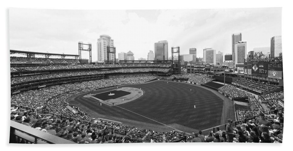 Busch Hand Towel featuring the photograph By The Right Field Foul Pole Bw by C H Apperson
