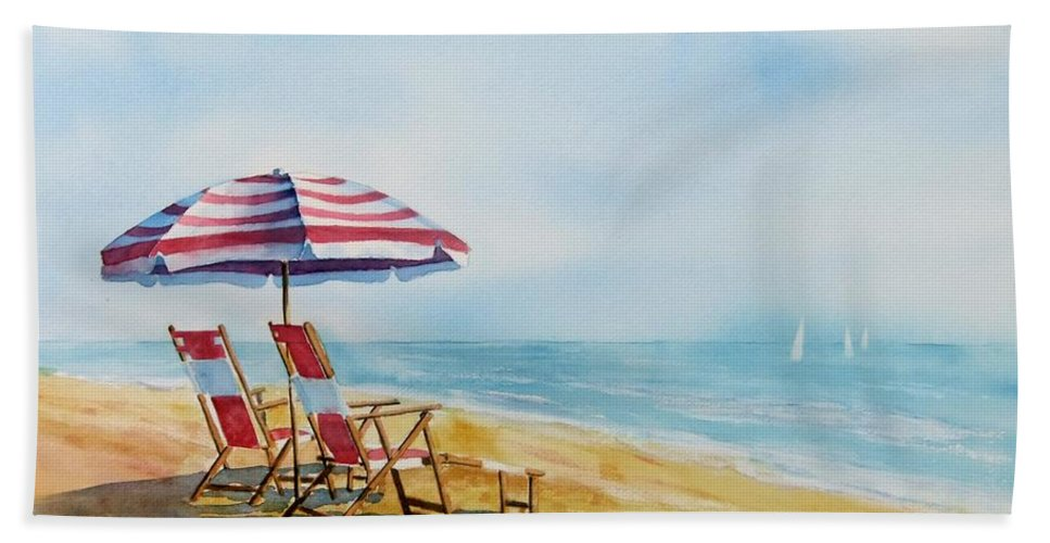 Seashore Bath Sheet featuring the painting By The Waterfront by Debbie Lewis