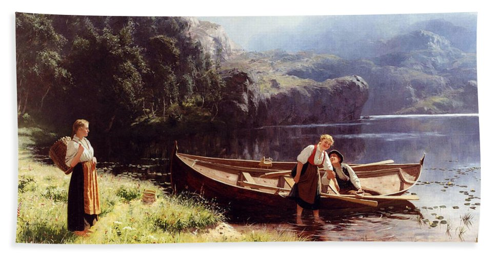 Hans Dahl Bath Sheet featuring the painting By The Waters Edge by Hans Dahl