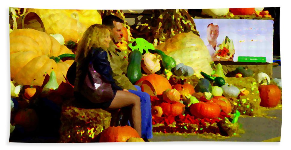 Markets Bath Sheet featuring the painting Cabbage Patch Kids - Giant Pumpkins - Marche Atwater Montreal Market Scene Art Carole Spandau by Carole Spandau