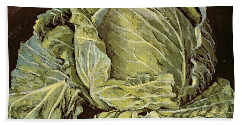 Still-life Hand Towel featuring the painting Cabbage Still Life by Vincent Yorke