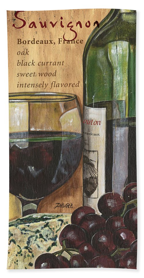 Cabernet Bath Sheet featuring the painting Cabernet Sauvignon by Debbie DeWitt