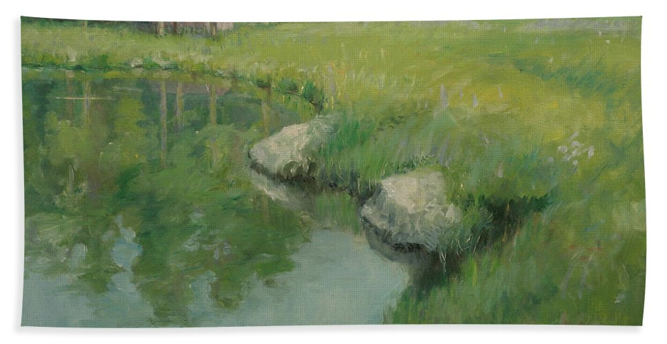 Landscape Hand Towel featuring the painting Cabin By The Pond by Sarah Parks