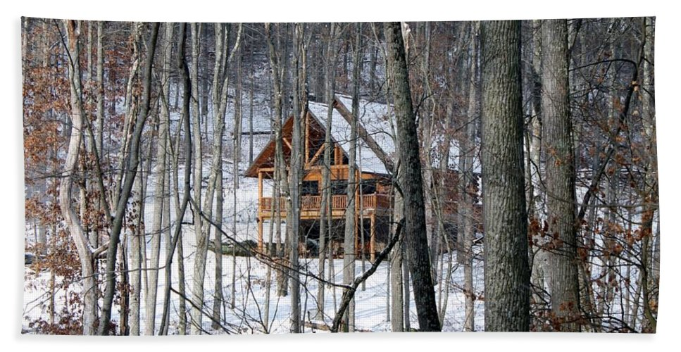 Ohio Hand Towel featuring the photograph Cabin In The Woods by Wendy Gertz