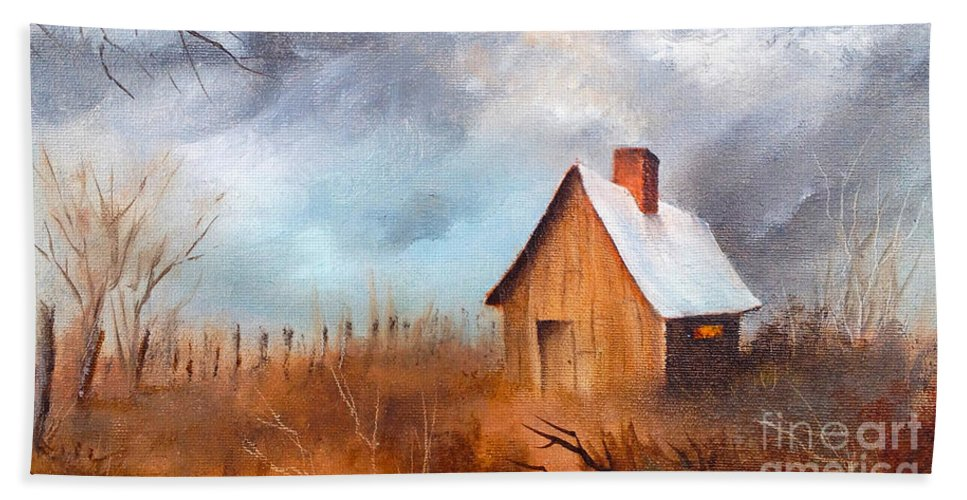 Cabin With Fence Hand Towel featuring the painting Cabin With Fence by Teresa Ascone