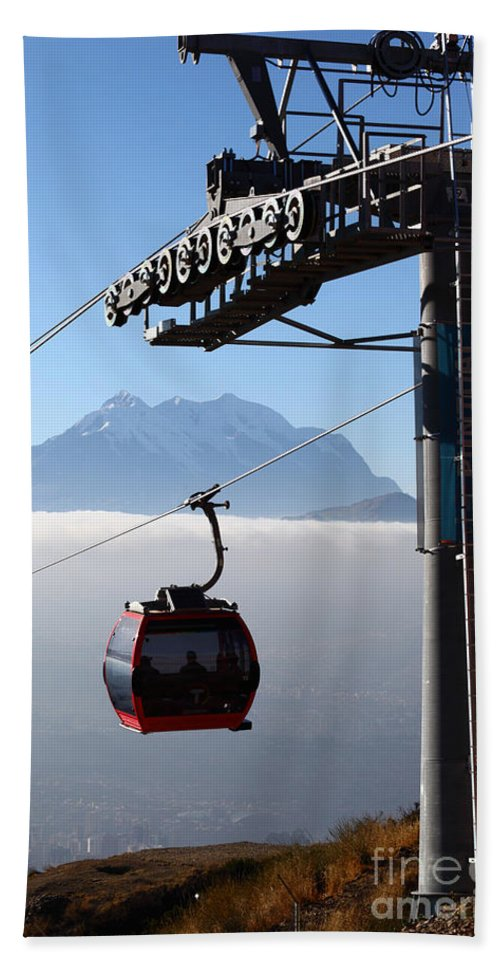 Cable Car Bath Sheet featuring the photograph Cable Car Above The Andes by James Brunker