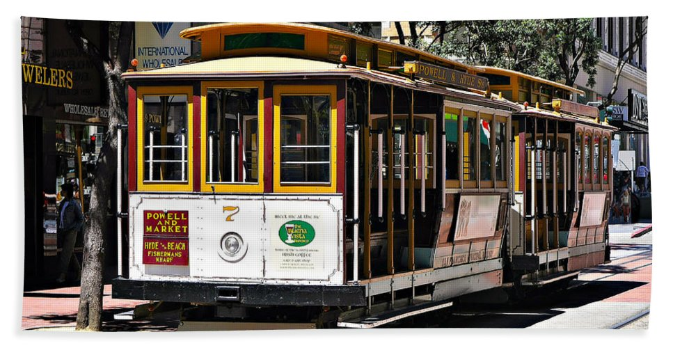 Cable Car Bath Sheet featuring the photograph Cable Car - San Francisco by John Waclo