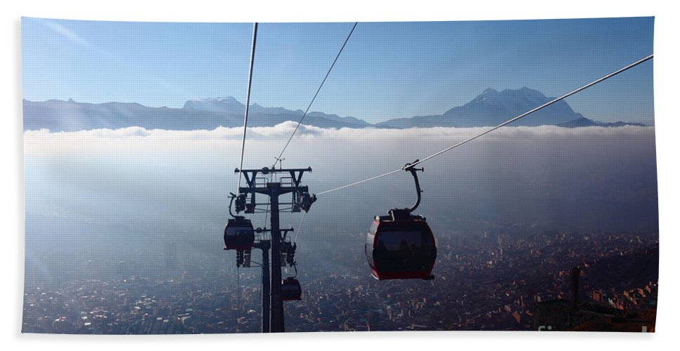 Bolivia Bath Sheet featuring the photograph Cable Cars Over La Paz City by James Brunker
