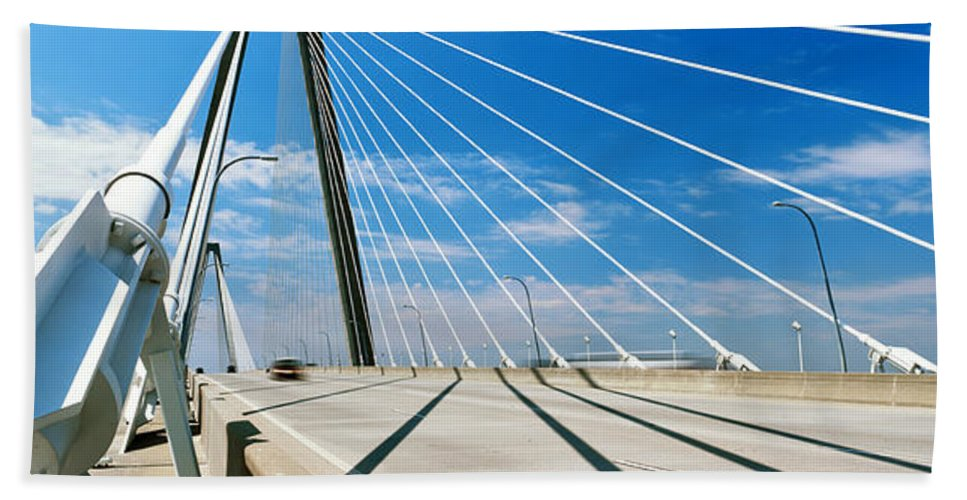 Photography Hand Towel featuring the photograph Cable-stayed Bridge, Arthur Ravenel Jr by Panoramic Images