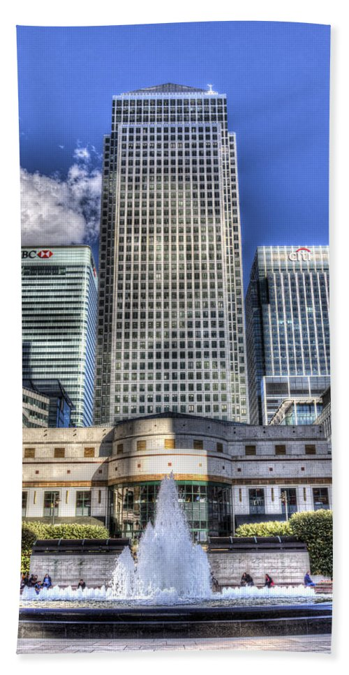 Cabot Square Hand Towel featuring the photograph Cabot Square London by David Pyatt