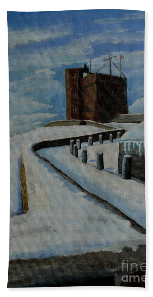 Landscape Bath Towel featuring the painting Cabot Tower Newfoundland by Anthony Dunphy