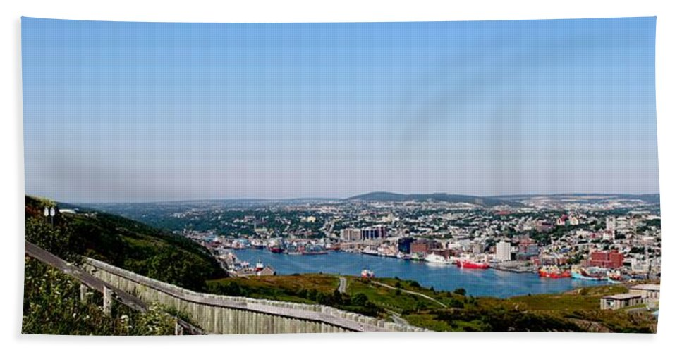Barbara Griffin Bath Sheet featuring the photograph Cabot Tower Overlooking The Port City Of St. John's by Barbara Griffin