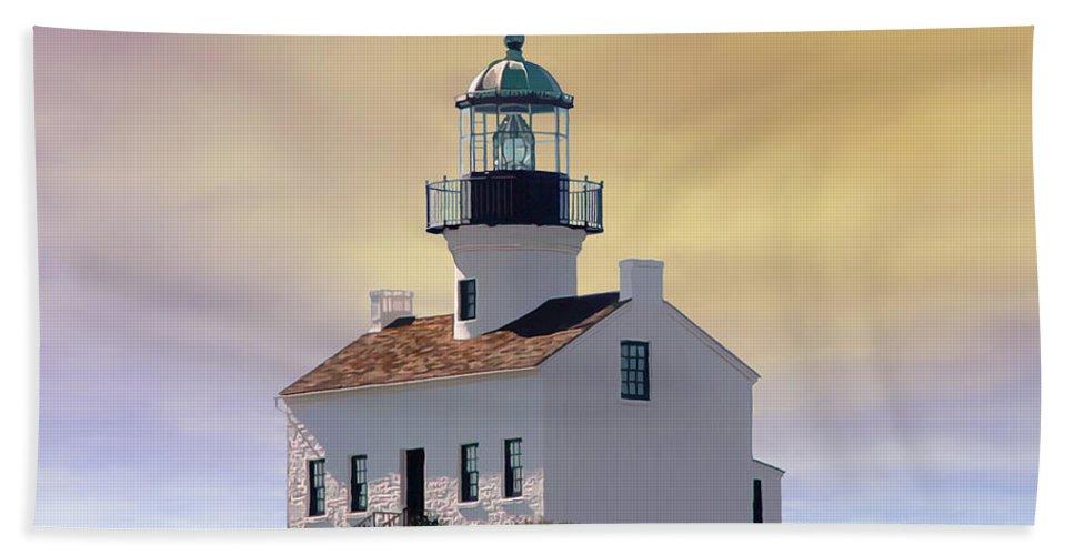 Abstract Art Bath Sheet featuring the digital art Cabrillo Lighthouse by John Engen