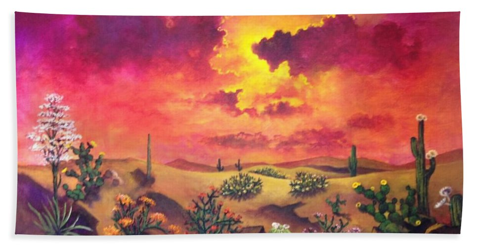 Desert Hand Towel featuring the painting Mystery Of The Desert by Randy Burns