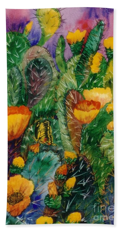 Cactus Bath Sheet featuring the painting Cactus Flowers by Don Hand