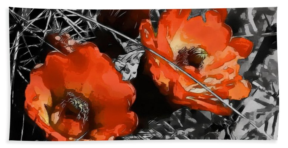 Digital Clone Painting Hand Towel featuring the digital art Cactus Flowers by Tim Richards