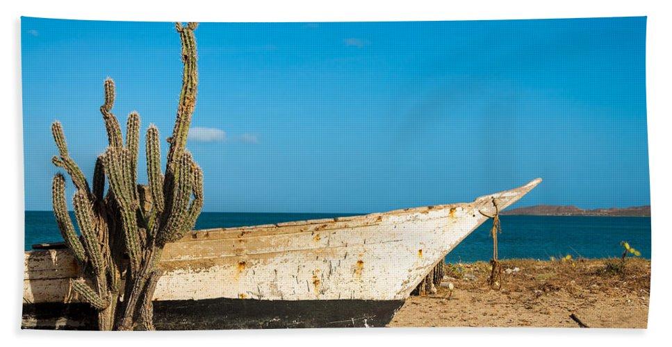 Beach Bath Sheet featuring the photograph Cactus On A Beach by Jess Kraft