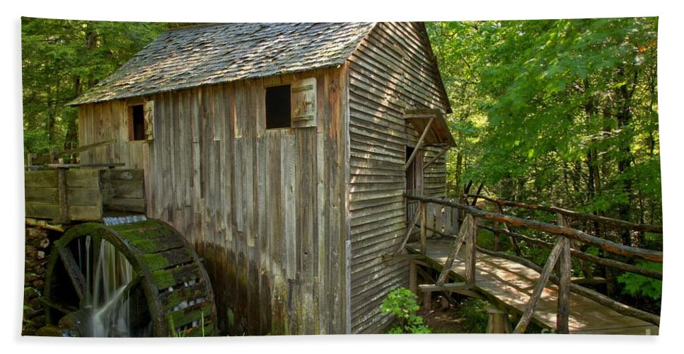 Cades Cove Grist Mill Hand Towel featuring the photograph Cades Cove Grist Mill Closeup by Adam Jewell