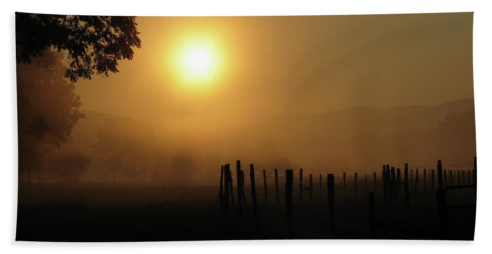 Bath Sheet featuring the photograph Cades Cove Sunrise IIi by Douglas Stucky