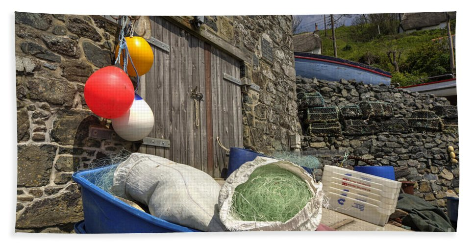 Cadgwith Hand Towel featuring the photograph Cadgwith Fishing Paraphernalia by Rob Hawkins