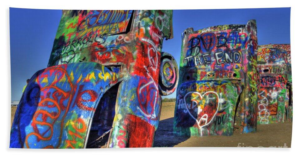 Cars Bath Sheet featuring the photograph Cadillac Ranch by Tony Baca