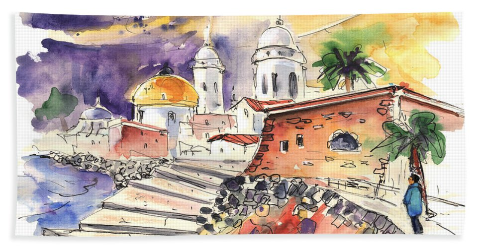Travel Hand Towel featuring the painting Cadiz Spain 01 by Miki De Goodaboom