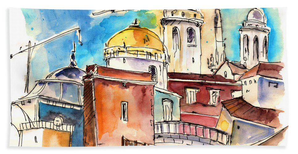 Travel Hand Towel featuring the painting Cadiz Spain 02 by Miki De Goodaboom