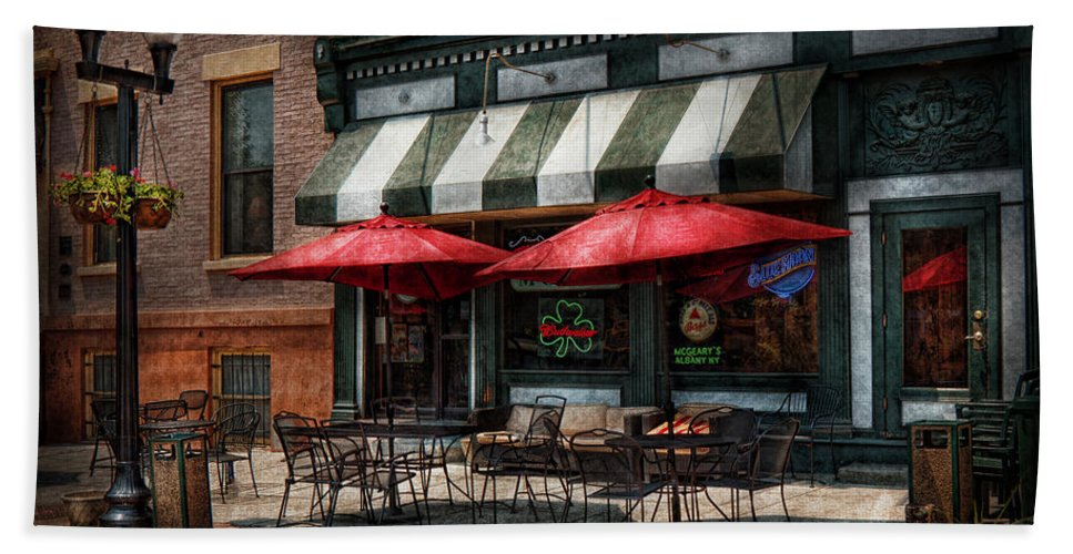 Albany Bath Sheet featuring the photograph Cafe - Albany Ny - Mc Geary's Pub by Mike Savad