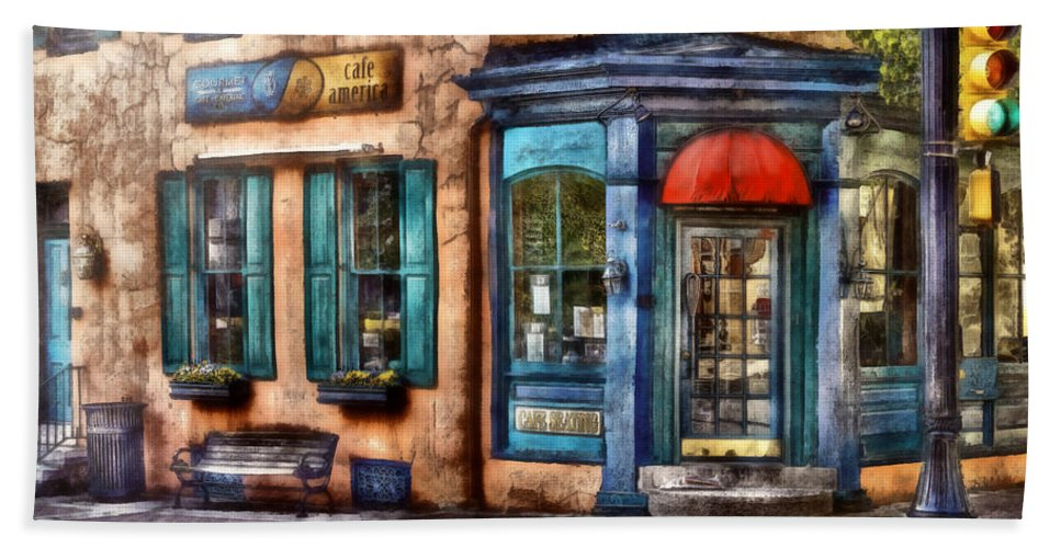 Savad Bath Sheet featuring the photograph Cafe - Cafe America by Mike Savad