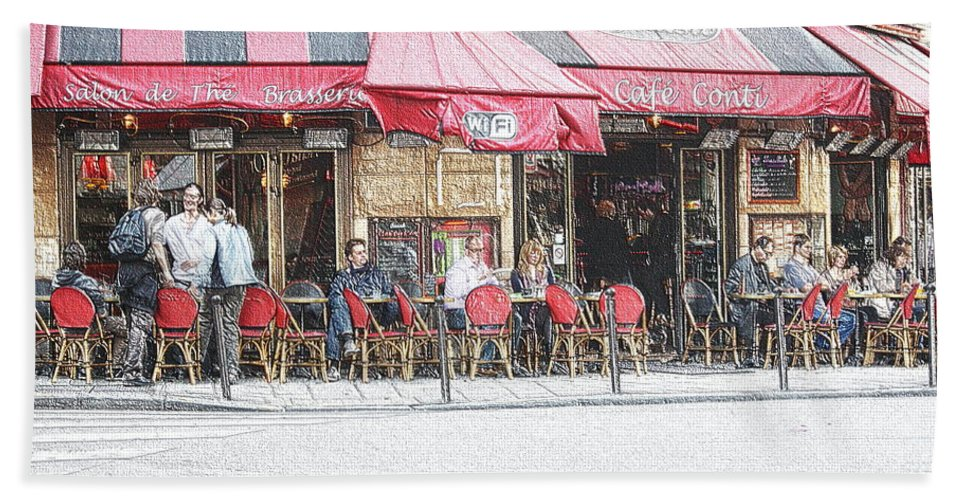 France Bath Sheet featuring the photograph Cafe Conti by Sergio B