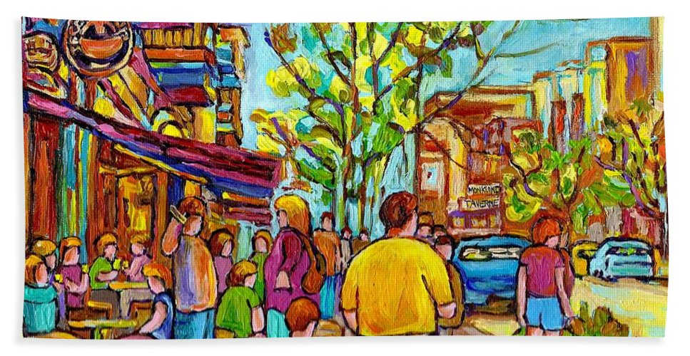 Montreal Streetscene Bath Towel featuring the painting Cafes In Springtime by Carole Spandau