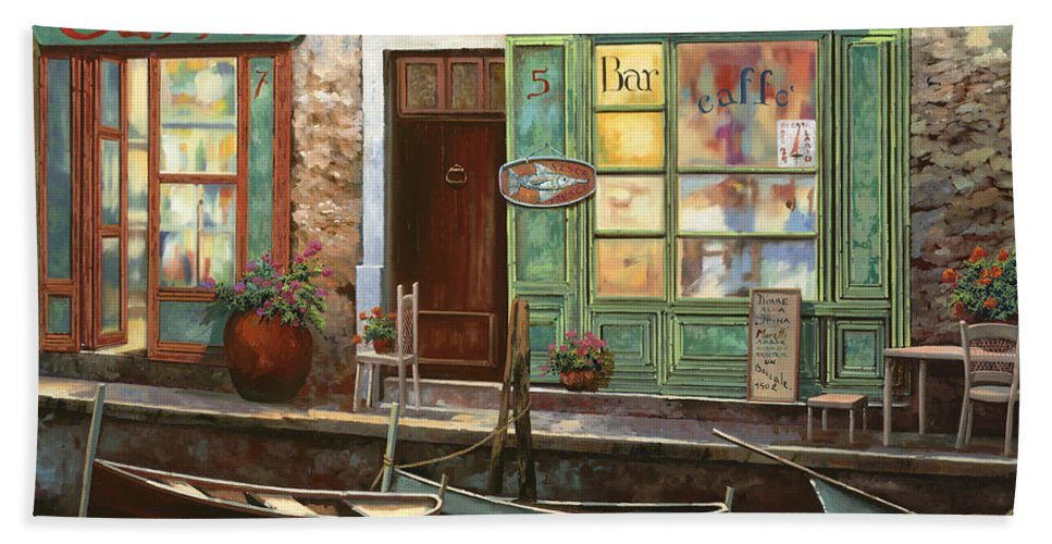 Venice Hand Towel featuring the painting caffe Carlotta by Guido Borelli