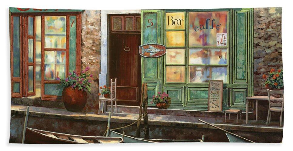 Venice Bath Towel featuring the painting caffe Carlotta by Guido Borelli