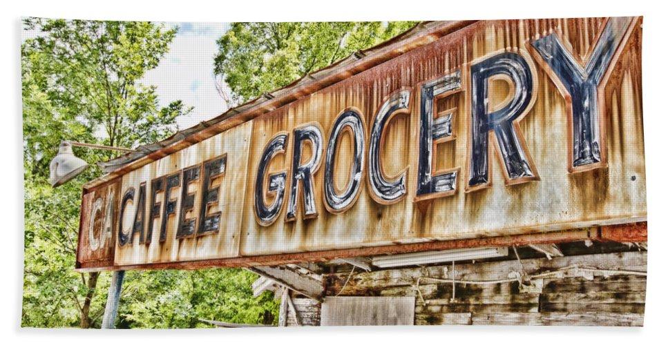 Grocery Bath Sheet featuring the photograph Caffee Grocery by Scott Pellegrin