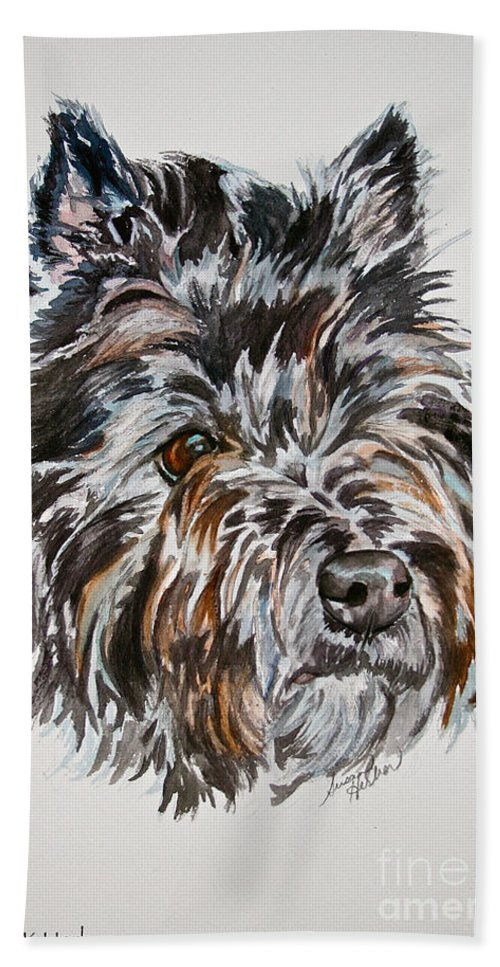 Dog Bath Sheet featuring the painting Cairn Terrier Martha by Susan Herber