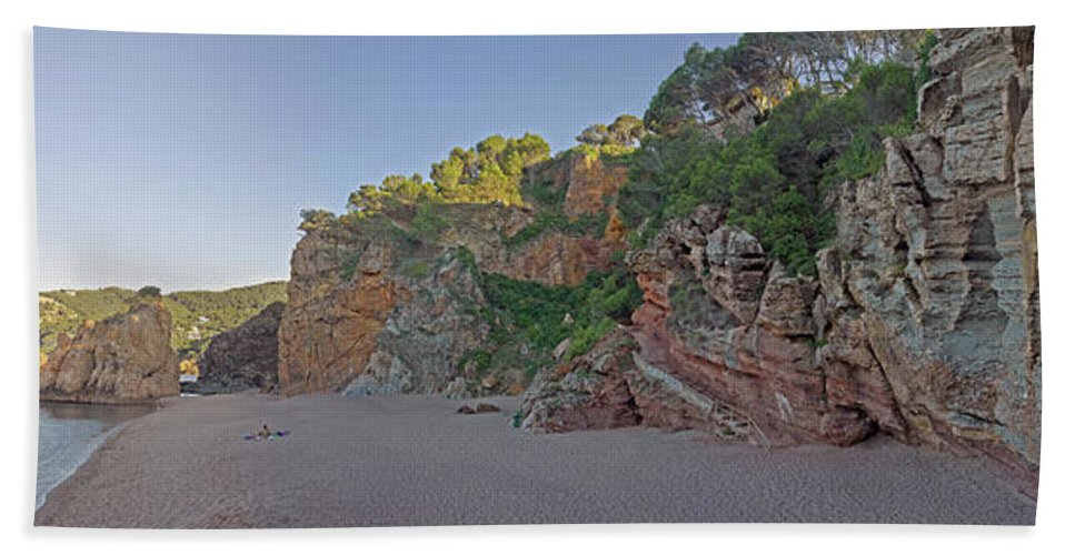Photography Bath Sheet featuring the photograph Cala Moreta In Costa Brava, Girona by Panoramic Images