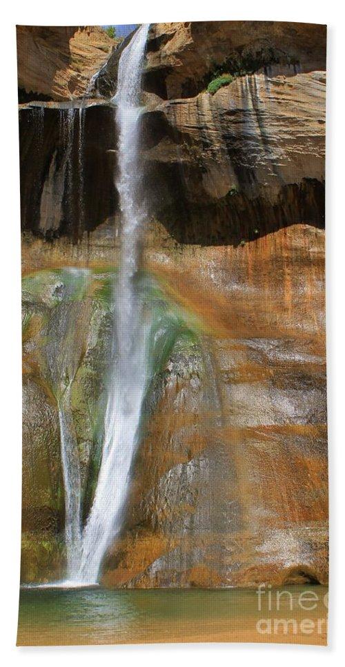 Utah Hand Towel featuring the photograph Calf Creek Falls 2 by Tonya Hance