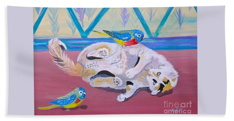 Calico Bath Sheet featuring the painting Calico And Friends by Phyllis Kaltenbach