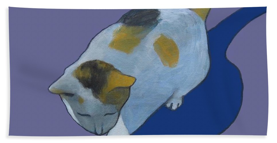Calico Hand Towel featuring the painting Calico On Purple by Kazumi Whitemoon