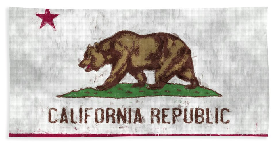 California Hand Towel featuring the digital art California Flag by World Art Prints And Designs