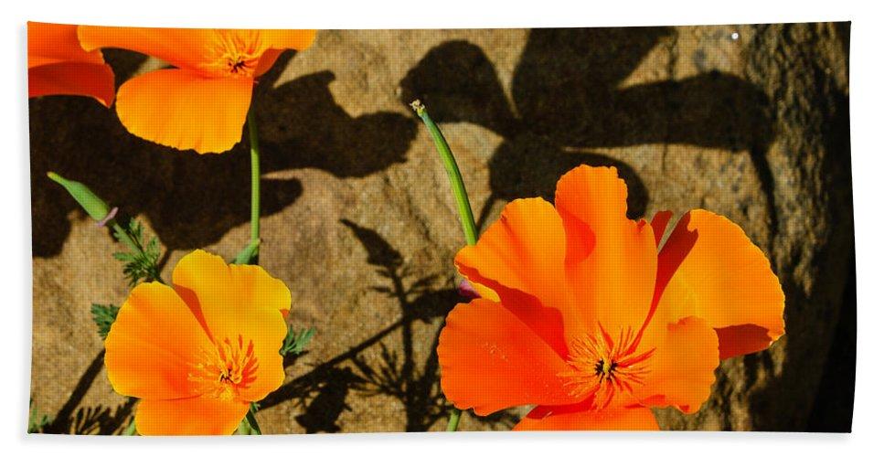California Poppies Hand Towel featuring the photograph California Poppies - Crisp Shadows From The Desert Sun by Georgia Mizuleva
