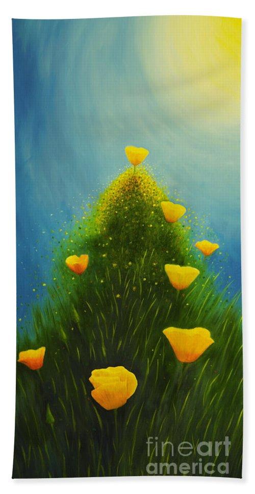 Art Hand Towel featuring the painting California Poppies by Veikko Suikkanen