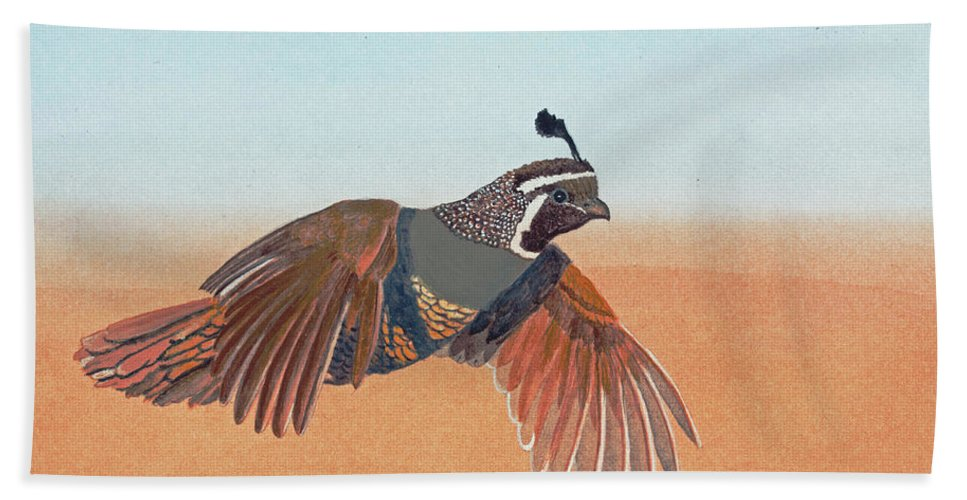 Wildlife Bath Sheet featuring the painting California Quail by Mike Robles