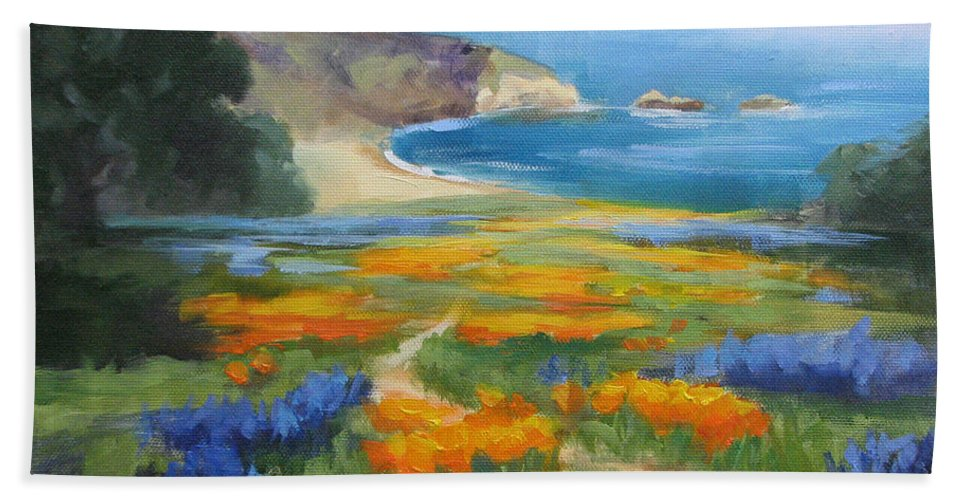 Big Sur Bath Towel featuring the painting California Spring Big Sur Coast by Karin Leonard