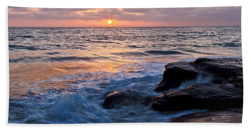 Sunset Hand Towel featuring the photograph California Sunset by Richard Cheski